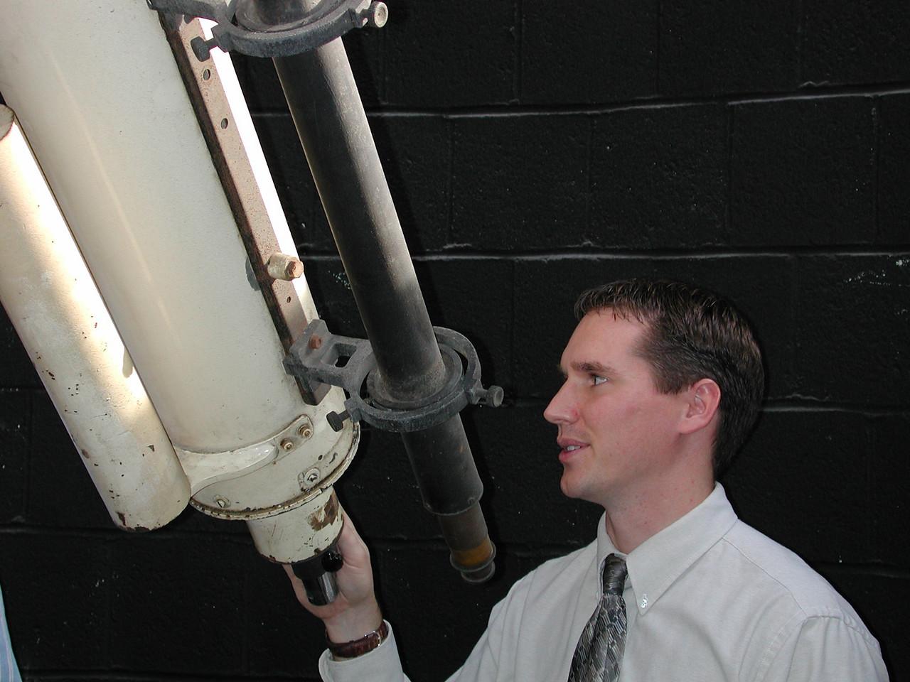 Jayson examines the instruments tail stock assembly.