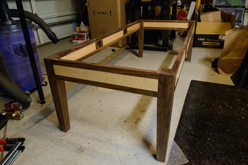 Walnut and Birds-Eye Maple table construction