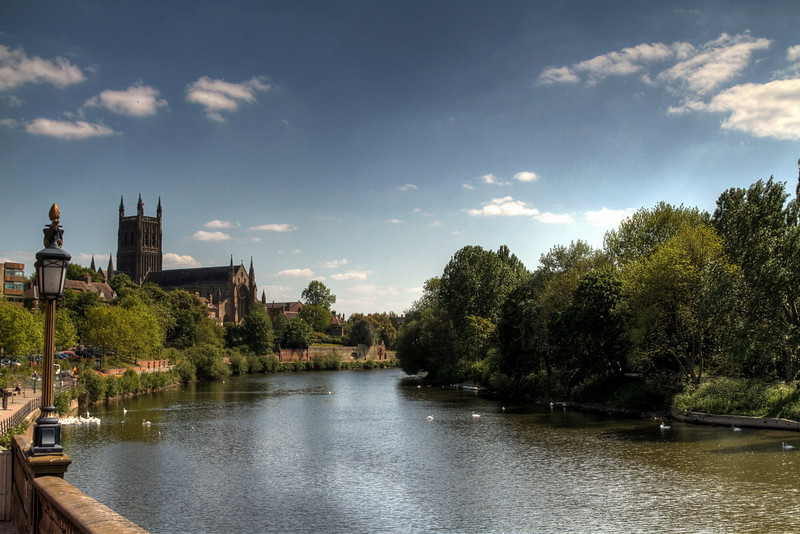 Worcester Cathedral looks over the river Severn towards the cricket ground.