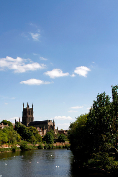 Worcester Cathedral set on the banks of the river Severn
