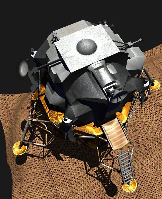 Lunar Excursion Module. Realtime shadows, highlights, normal maps.