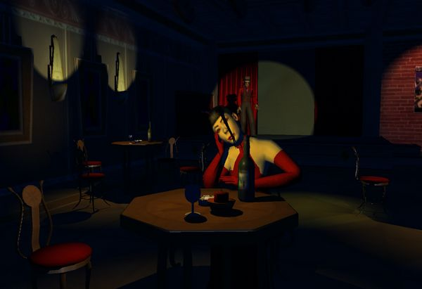 Initial clubscene. Early version of renderer.