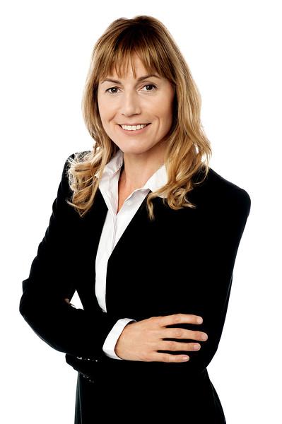 Female executive isolated on white