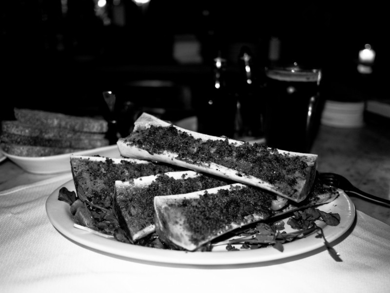 This is the Bone Marrow Arrosto Oreganta at Crispo. It was reputed by Chowhounders as being one of the best Marrows in NYC. I have to say it was fantastic and sets a serious standard. A gigantic portion for $13. They had a spiced ale on tap; not sure who made it - it was unlabeled. Tasty.