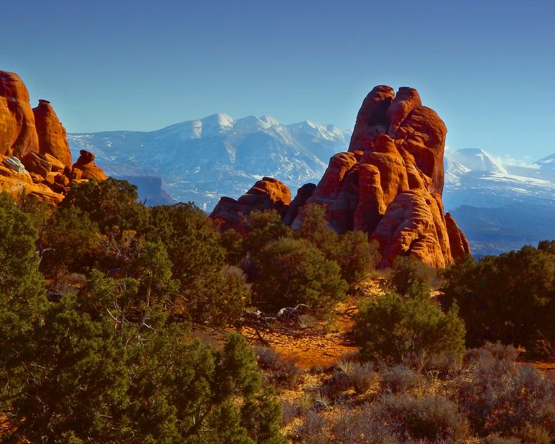 Arches National Park. The La Sal mountains are in the background.<br /> <br /> Recommended sizes: 4 x 5, 8 x 10, 16 x 20