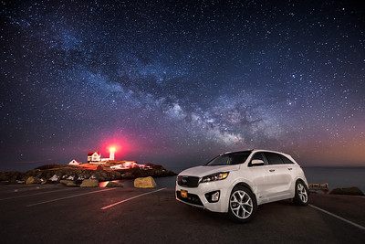 2016 Kia Sorento under the Milky Way at Cape Neddick Lighthouse (Nubble Light) in York, Maine.