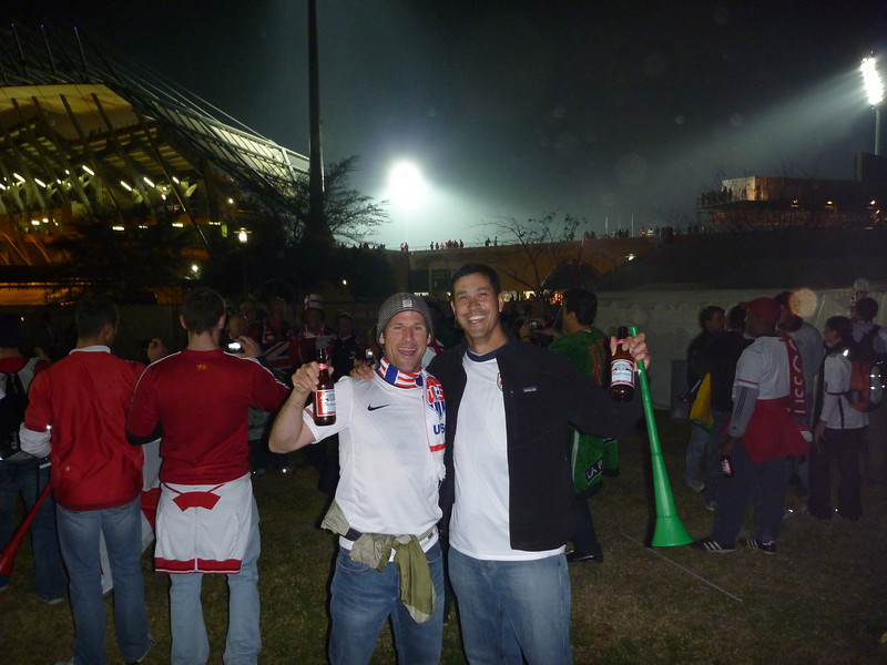 24 hours in the air, 50 hours without sleep, no food- but we've got Budweiser tall boys, it's Saturday night, and USA-England is just an hour away, Royal Bafokeng Stadium, Rustenberg, South Africa, June 12, 2010