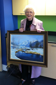 One of our writers is also a painter!  Norma Bagnall, age 96, brought one of her paintings to the NEW Senior Center on opening day, December 3, 2012.