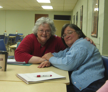 February 2010.  Deborah Gold-Avery, left, joined us and recognized among the group someone she had known YEARS before.  Lois (right) had worked for Deborah's father and had sometimes taken care of young Deborah.  Lois had previously written fond memories of Dr. Gold.   What a surprise!  Fun reunion!