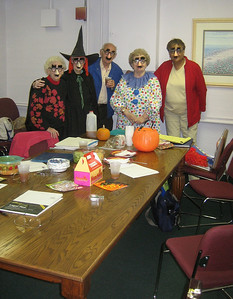"""A """"Fun with Writing"""" group, which meets every Monday afternoon, was having a Halloween party!  They invited me to join the party, and come to future meetings.  I protested that I was too busy, and not a writer, but I wanted to show them the new books I'd bought on a grant."""