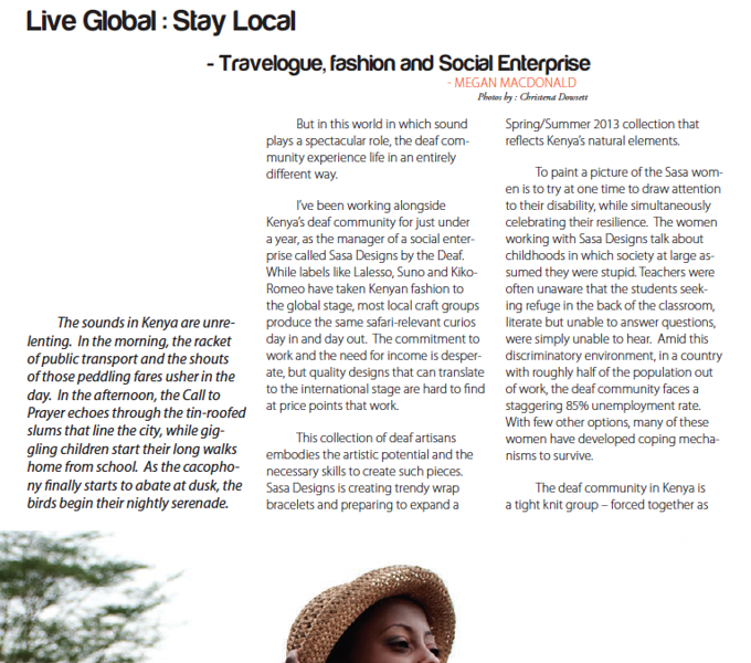 Article featured in 831 Mazaine Winter 2012/2013 Issue.<br /> <br /> Page 1 of 2