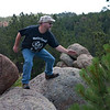 Garate, position 2. Gary is going through the forms of fighting system, which can only be executed while wearing a Motorhead t-shirt, standing on rocks.