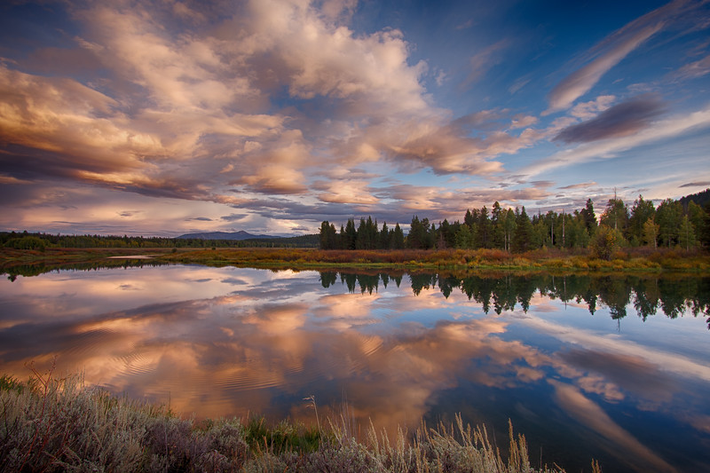 Oxbow Bend sunset reflections 3
