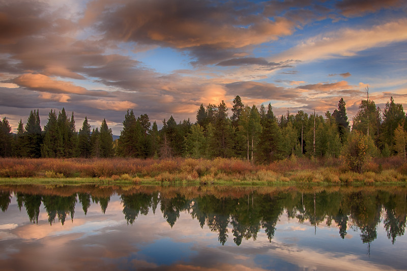 Oxbow Bend sunset reflections 1