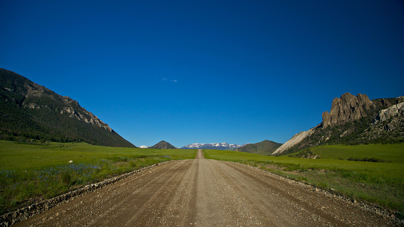 A gravel roads splits the wilderness of northern Wyoming.