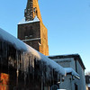 Wonderful icicles in the alleyway that runs past St James Church in Birkdale