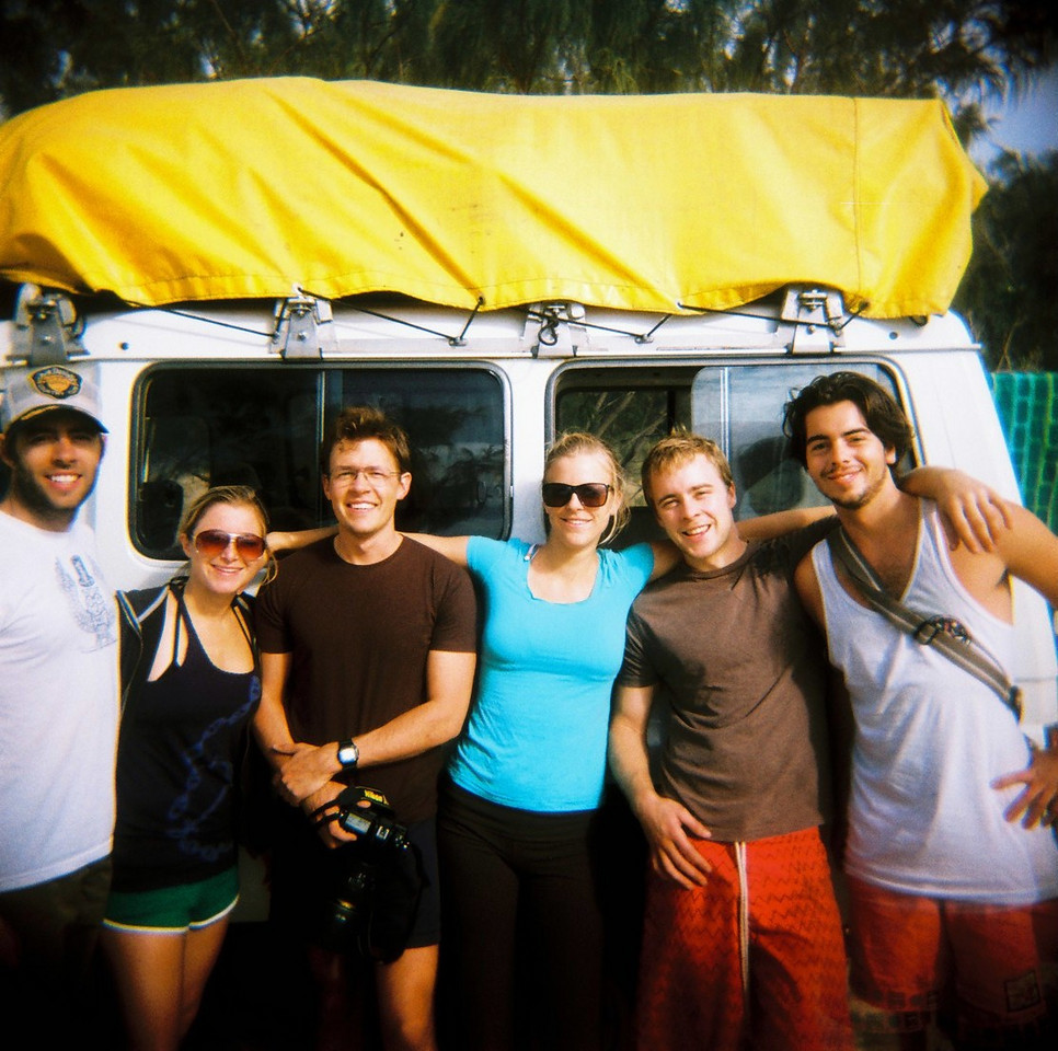 Scott and friends exploring Fraser Island, Australia by jeep in September.