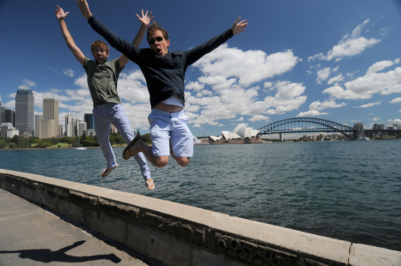 Scott and friend Jason along the Sydney Harbourfront