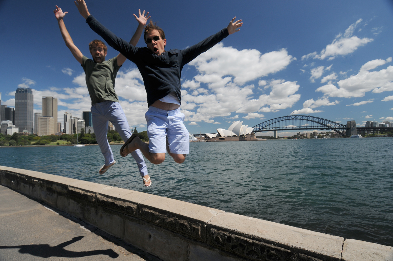 Scott and friend Jason along the Sydney Harbourfront