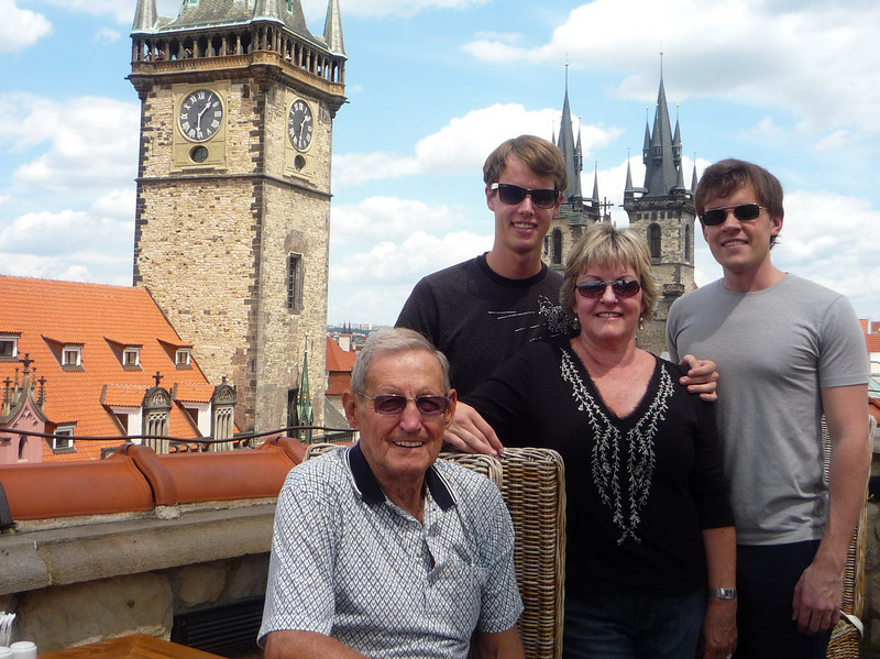 Bunka, Kyle, Candis and Scott atop Hotel U Prince in Prague last July.