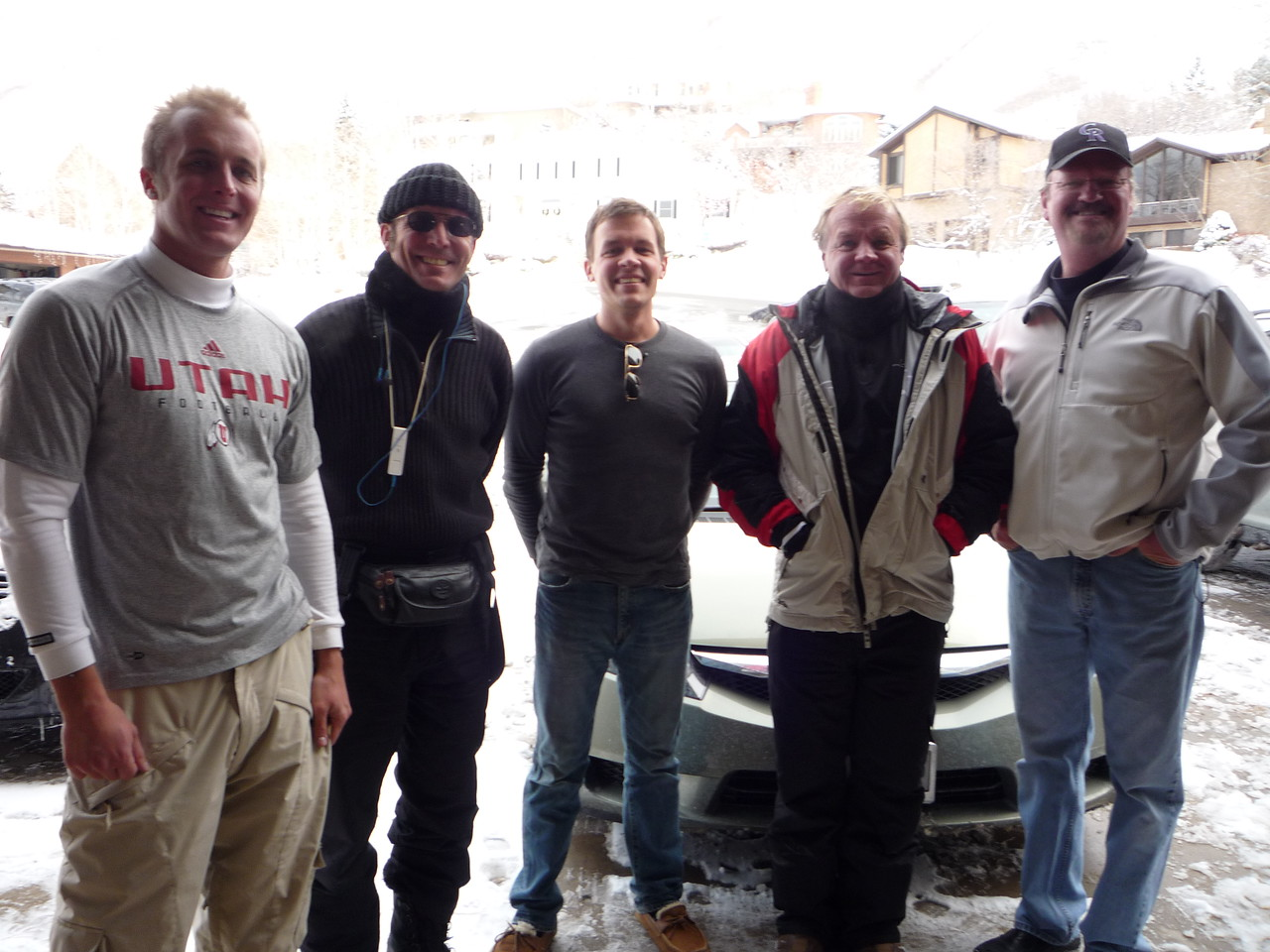Jason, Mike, Scott, Mike and Skip before a day of skiing at Snowbird last December.