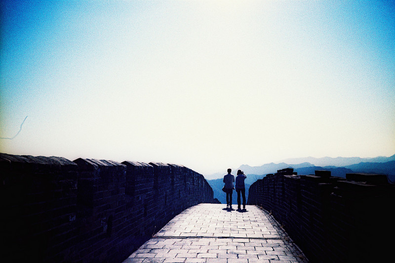 Scott and Cory walking along the Great Wall outside Beijing, China