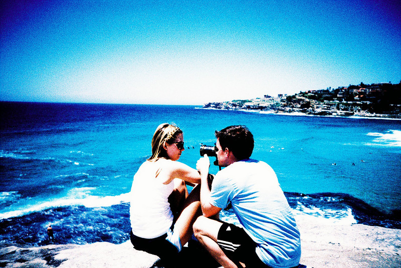 Scott taking photographs at Bronte beach in Sydney last January.