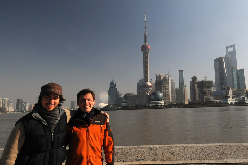 Kyle and Scott along the Bund with Pudong in the background in Shanghai, China