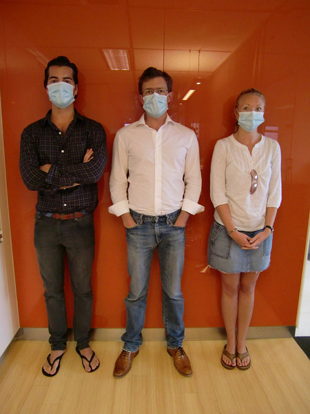 Kyle, Scott and Detgen in Hong Kong, wearing masks during the H1N1 breakout in Asia last May.