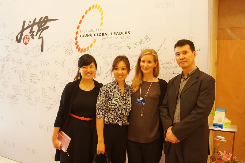 Peggy Liu, JUCCCE President with Wu Jie's creator Yuan Bo Song, Kim Wong, and Katherine Brown,WEF