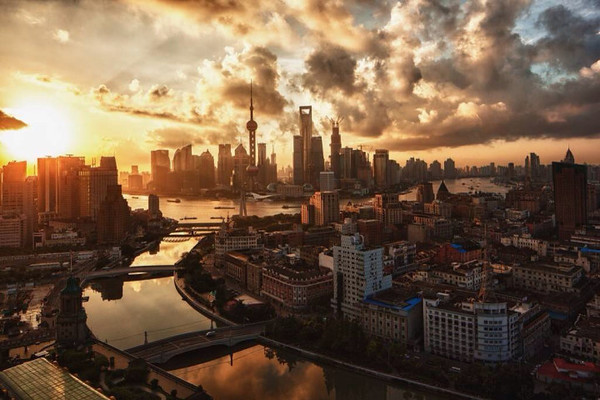 Before Sunset view of Shanghai