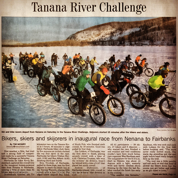 Fairbanks Daily-News Miner coverage of the inaugural Tanana River Challenge. The Hogback and I are immediately right of photo-center. Photo of newspaper by Trystan Herriott.