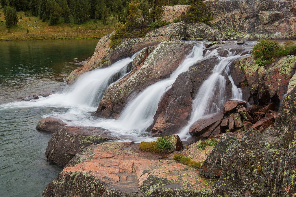 Spogen Falls, Spogen Lake.  Martin Lake basin, Absaroka-Beartooth Wilderness, MT
