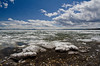 Yellowstone Lake was still partially frozen on the east end.