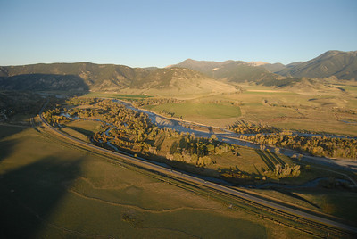 Paradise Valley Montana Aerial Photography of Depuys Spring Creek, the Yellowstone River and Absaroka Beartooth Mountains