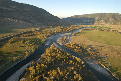 Paradise Valley Montana Aerial Photography of  the Yellowstone River and Absaroka Beartooth Mountains