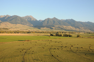 Paradise Valley Montana Aerial Photography of Cattle Ranch and Absaroka Beartooth Mountains