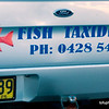 Fish taxidermist sign on a ute at Yamba, February 2012