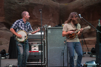 Michael Bont and Paul Hoffman of Greensky Bluegrass play Red Rocks on August 21, 2015. Photos by Candace Horgan, heyreverb.com.