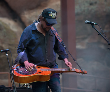 Anders Beck of Greensky Bluegrass plays Red Rocks on August 21, 2015. Photos by Candace Horgan, heyreverb.com.