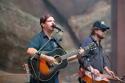 Dave Bruzza and Anders Beck of Greensky Bluegrass play Red Rocks on August 21, 2015. Photos by Candace Horgan, heyreverb.com.