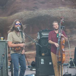 Paul Hoffman (L) and Mike Devol of Greensky Bluegrass play Red Rocks on August 21, 2015. Photos by Candace Horgan, heyreverb.com.