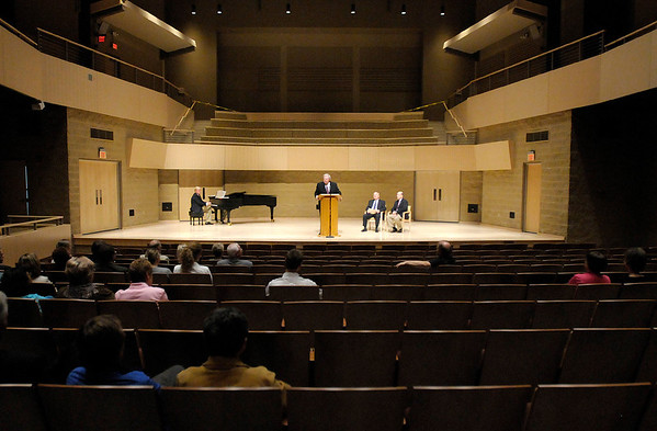 University President James Edwards thanks the many supporters of the York Performance Hall during an open house on Thursday. AU received enough financial support from donors to build the performance hall without any debt.