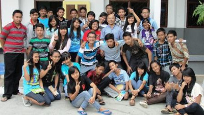 A youth group at the school with Fr. Kusmaryadi