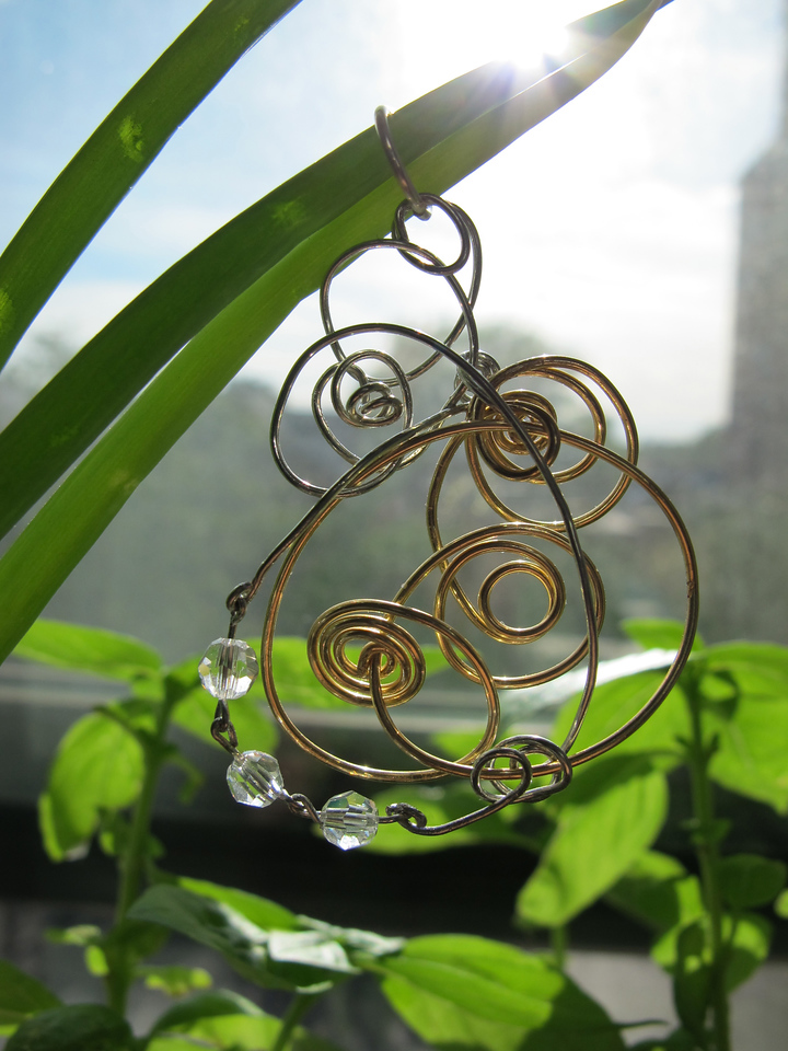 Wire Pendant_Sterling Silver, Stainless Steel, Gold Craft Wire & Crystal<br /> ©Photo & Jewelry: Isabel Ng