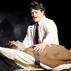 Don Knight/The Herald Bulletin<br /> Dr. Frederick Frankenstein (Gabe Porch) prepares to bring his monster (Martin Stapleton) to life in Mainstage's production of Mel Brooks' Young Frankenstein.