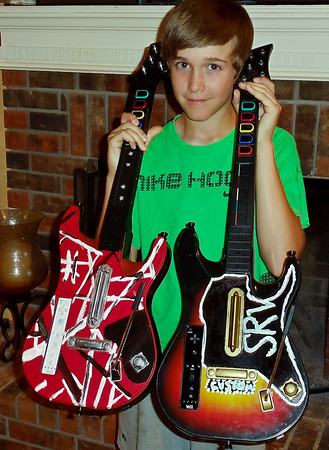 Zach's Guitar Hero guitars