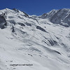 Europe's second highest mountain the Monte Rosa and Liskamm in the Swiss alps above zermatt after a fresh snow fall