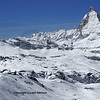 Panorama of the Matterhorn  with the station and observatory of the Gornergrat and ski runs above Zermatt in Southern Switzerland