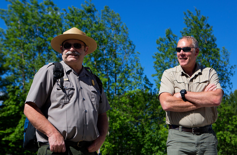 KATAHDIN WOODS AND WATERS NATIONAL MONUMENT, Maine -- 06/14/2017 - U.S. Secretary of the Interior Ryan Zinke (right) talks with superintendent of Katahdin Woods Tim Hudson before a tour of the Katahdin Woods and Waters National Monument Tuesday. The visit was the start of a four-day visit to New England. Katahdin Woods and Waters National Monument is currently under  review via President Trump's Executive Order 13792, issued April 26, 2017. Ashley L. Conti | BDN